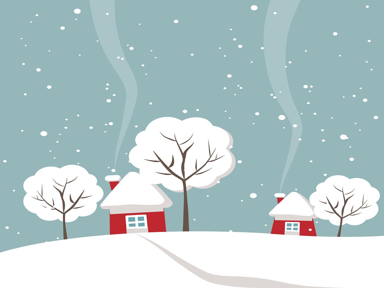 冬と家のイラスト